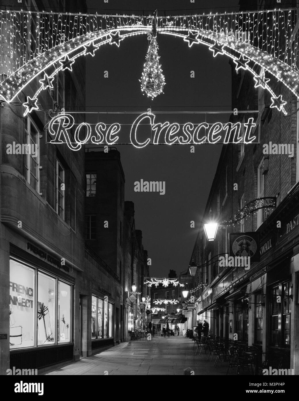 Rose Crescent Christmas lights Cambridge - Stock Image