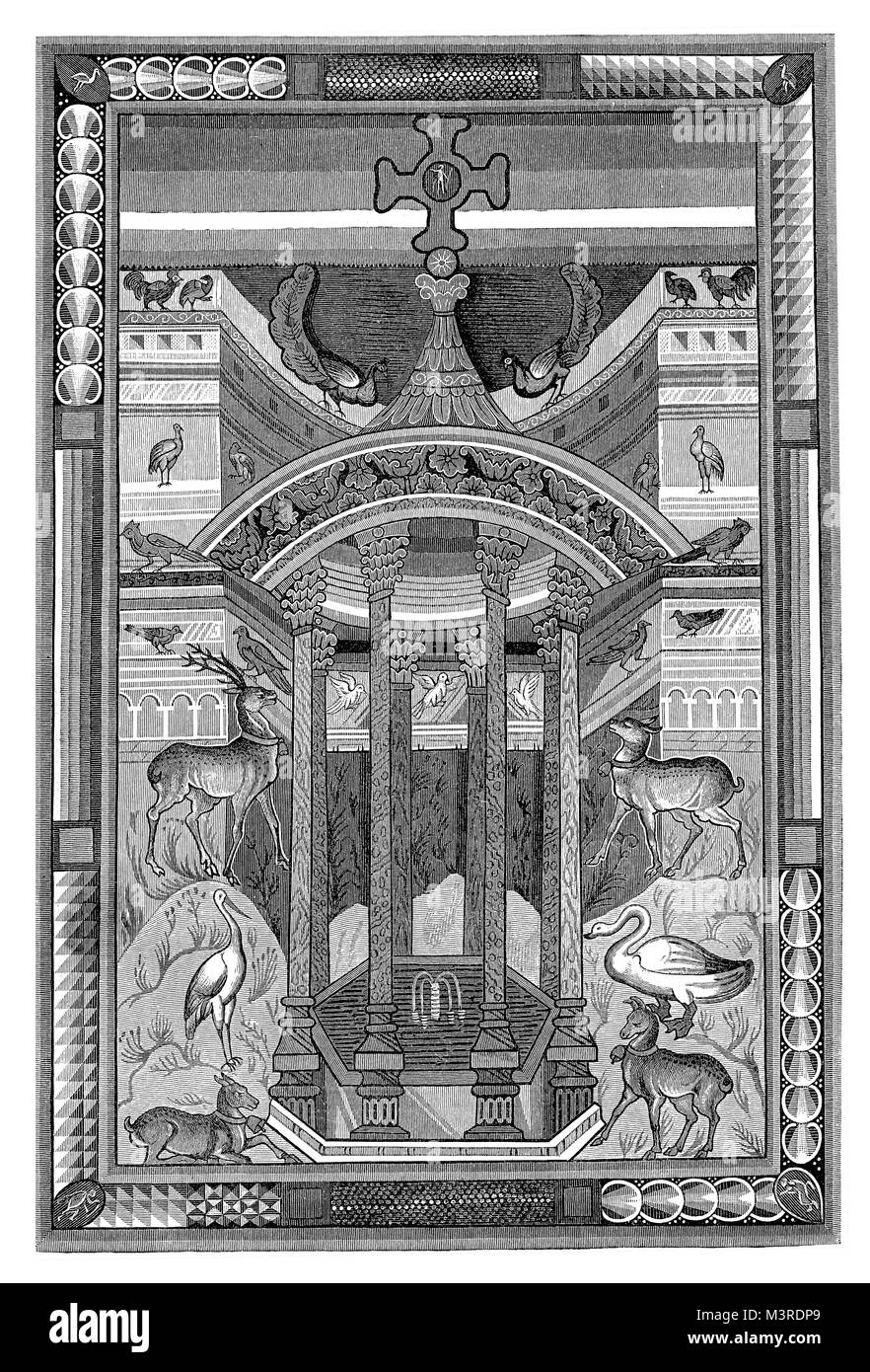 Miniature from gospel book of  Charlemagne or Charles the Great, IX century, vintage engraving - Stock Image