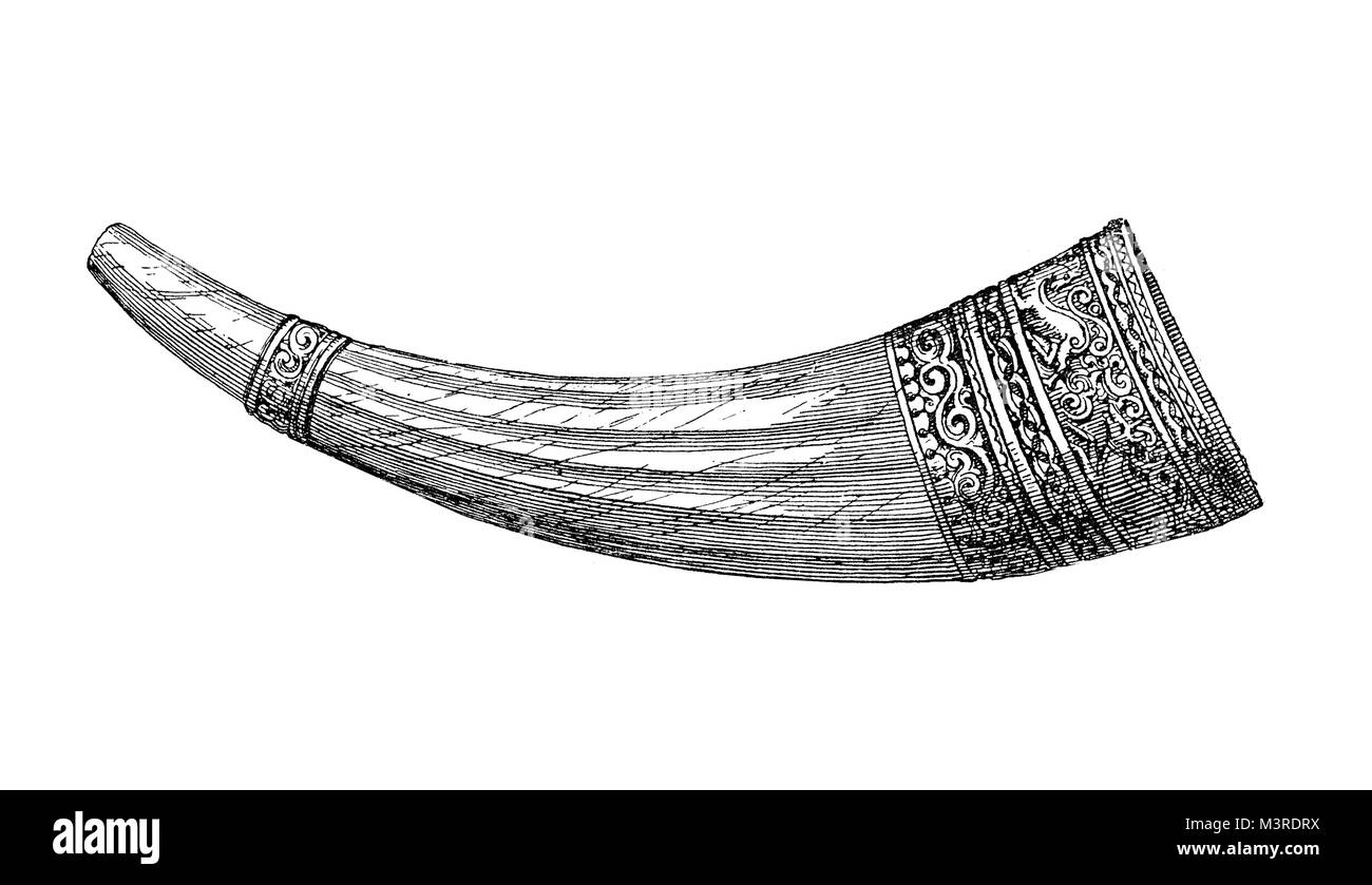 Olifant,medieval ivory hunting horn made of elephant tusk, owned by Holy Roman emperor Charles the Great or Charlemagne,guarded - Stock Image
