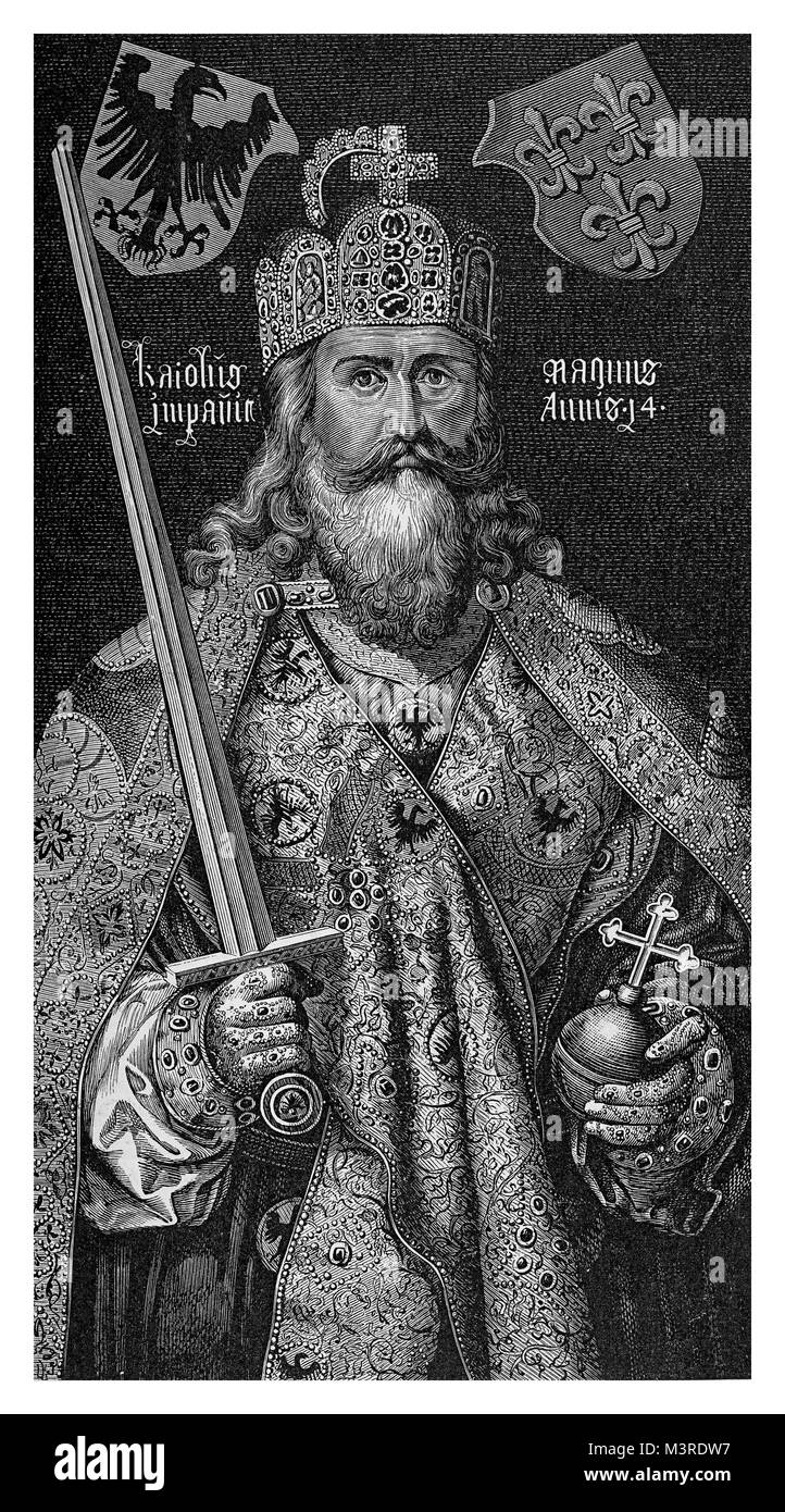 Engraving portrait of Charlemagne or Charles the Great (742-814) from a painting of Albrecht Durer dated 1510 - Stock Image