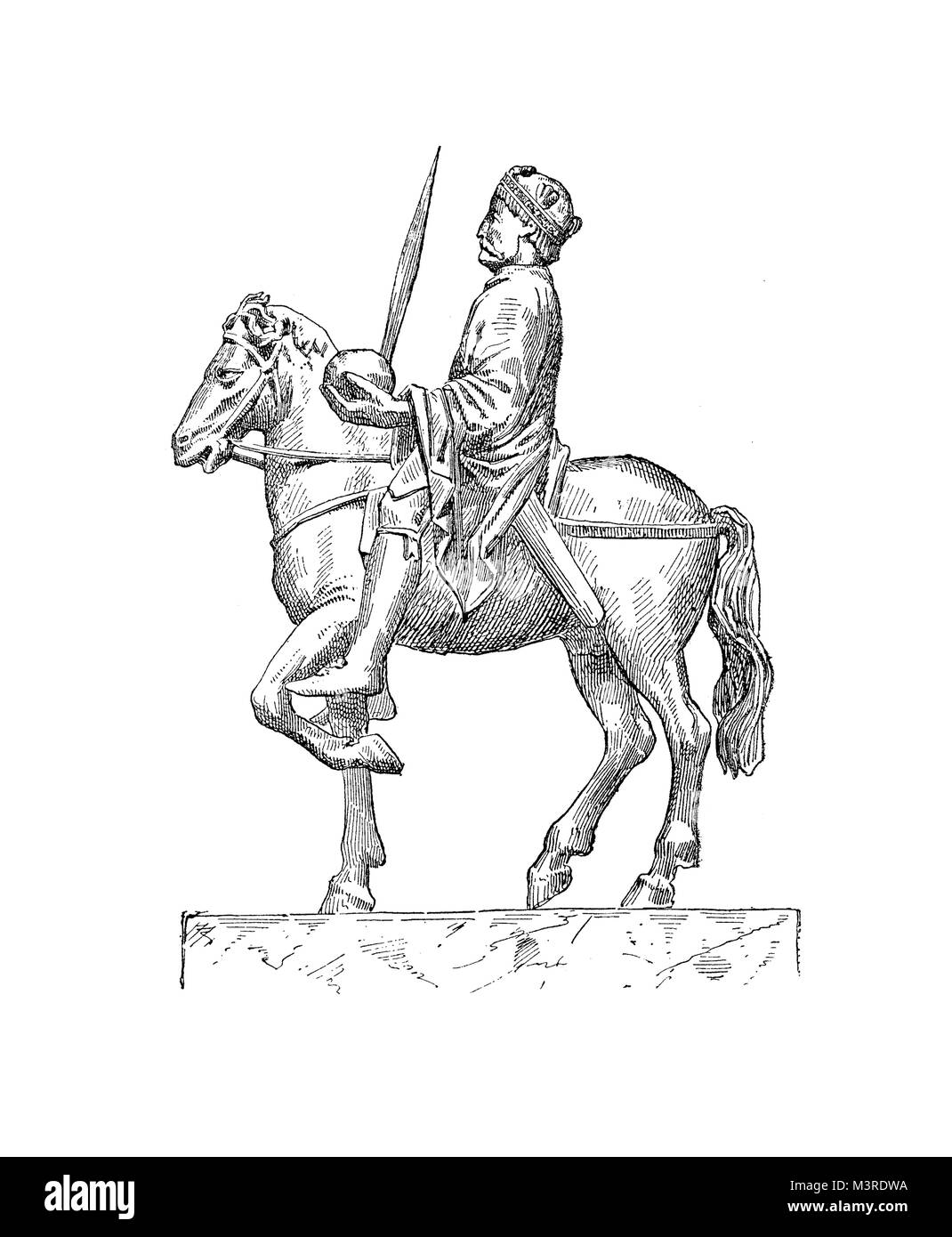 Medieval bronze statuette of Charlemagne or Charles the Great  Holy Roman emperor horseback - Stock Image