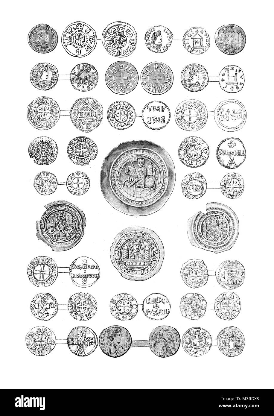 Vintage engraving of medieval coins of German kings and emperors - Stock Image