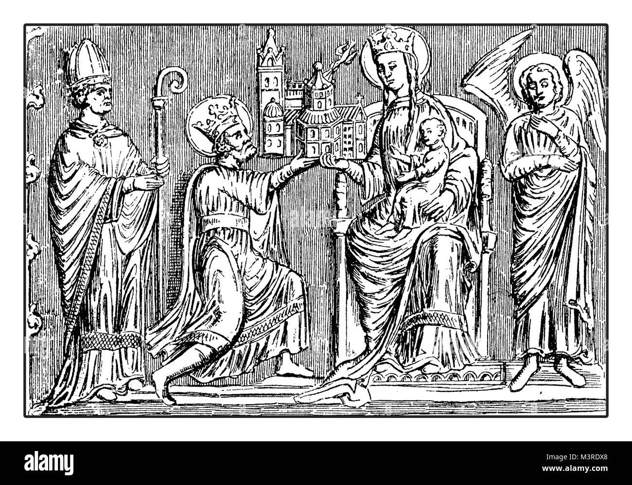 Silver shrine bas-relief with Charlemagne or Charles the Great offering the city cathedral to the Virgin May on - Stock Image