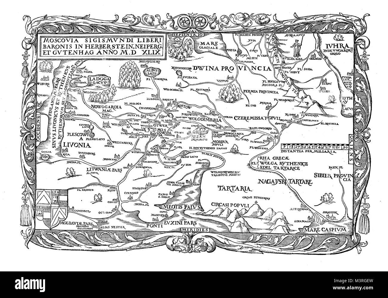 Holy Roman Empire diplomat Baron Sigismund von Herberstein chart of Russia, XVI century - Stock Image