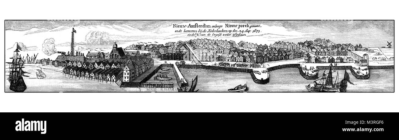 Vintage engraving of New Amsterdam, then New York, from the sea, XVII century - Stock Image