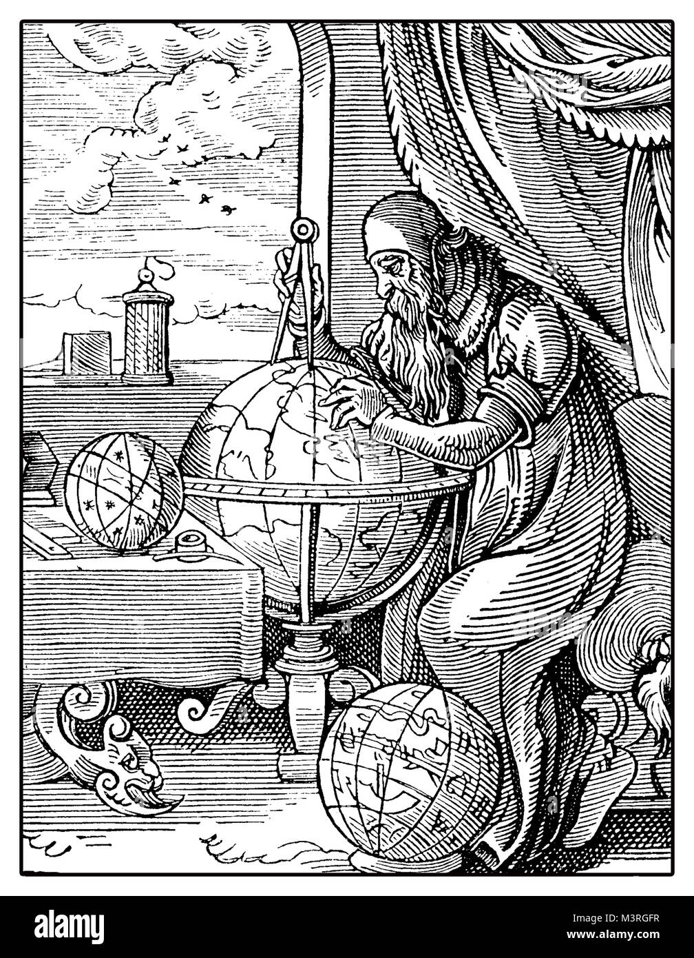 Portrait of medieval geographer with globe and compass at great discovery times, vintage engraving - Stock Image