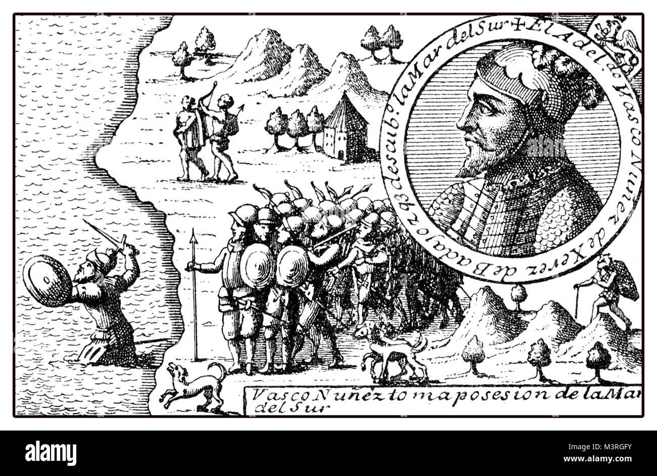 Allegoric representation of Vasco Nuñez de Balboa exploration of central America and the coast of Pacific ocean, - Stock Image