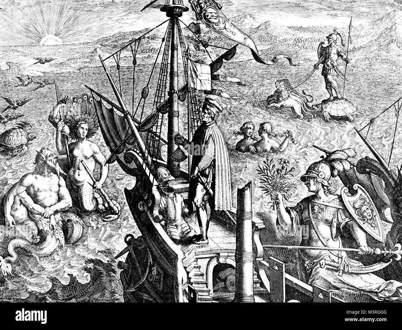 Allegory of America discovery from Amerigo Vespucci, XVI century illustration - Stock Image