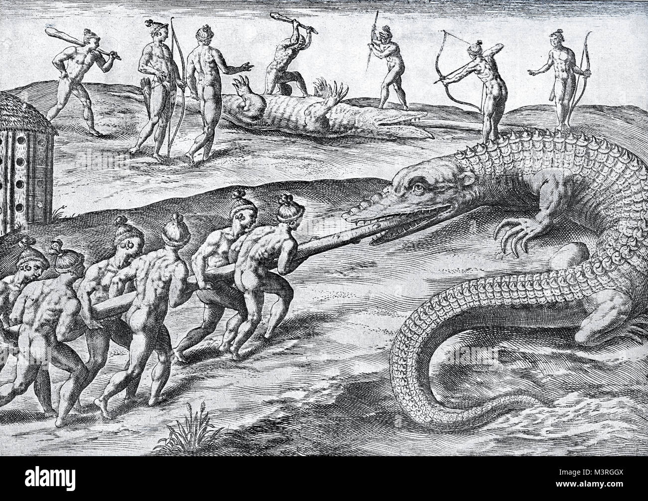 Vintage engraving of crocodile hunt from Florida natives, year 1591 - Stock Image