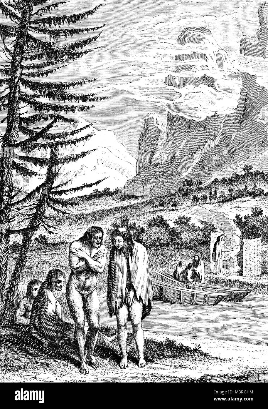 Portrait of people native of Patagonia, South America, 1754 year engraving - Stock Image
