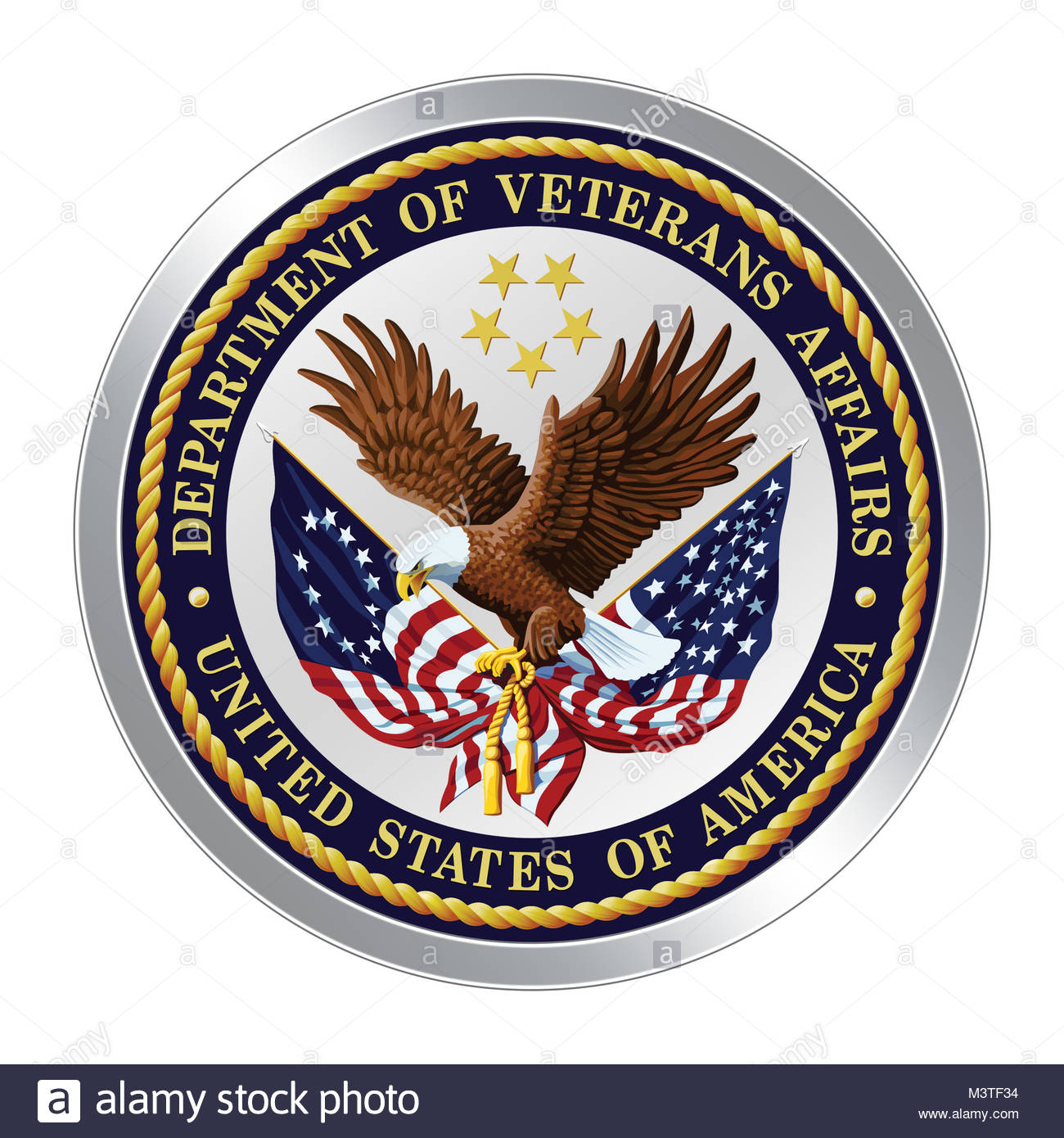 United States Department of Veterans Affairs VA icon logo button - Stock Image