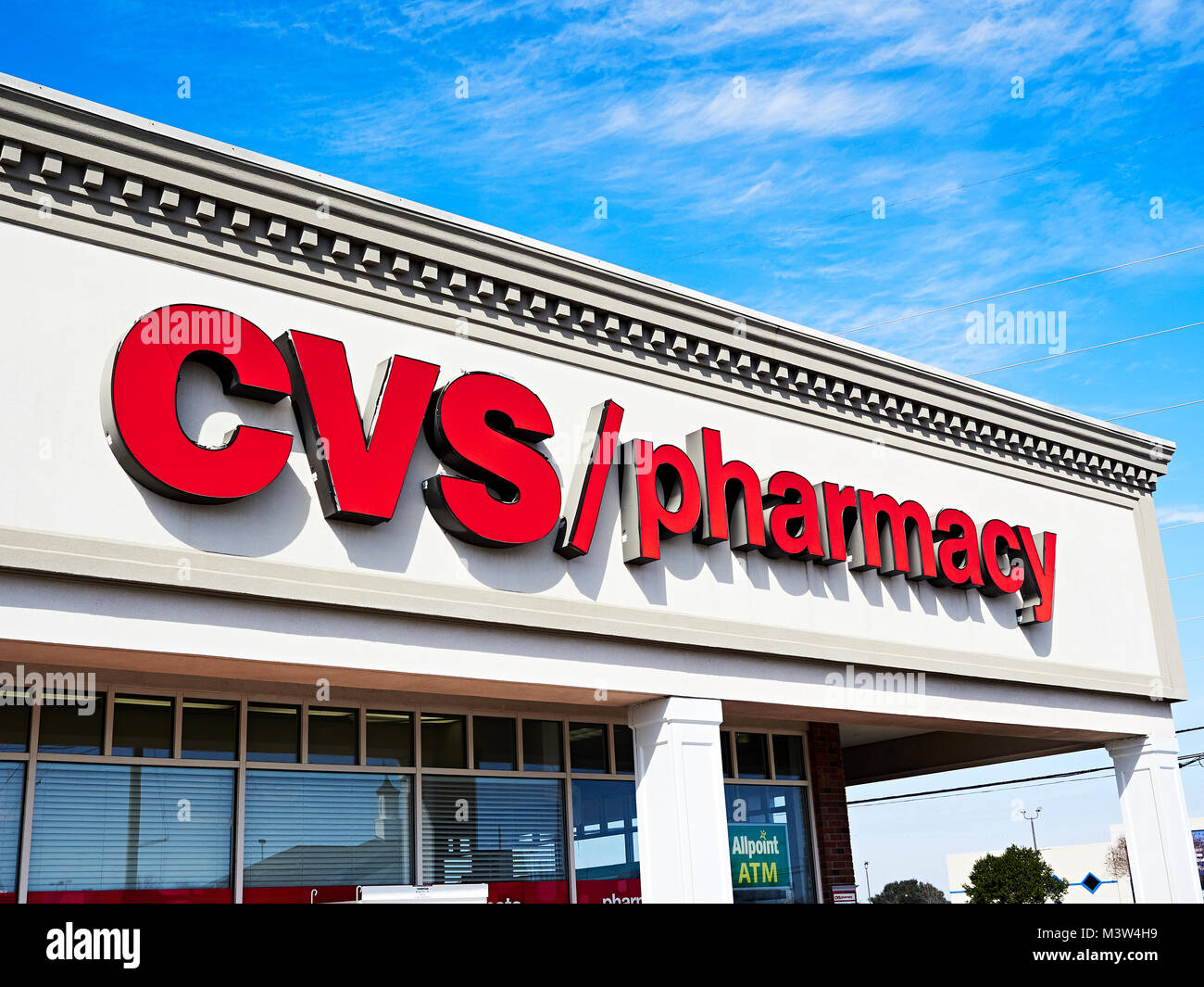 CVS Pharmacy, or drug store chemist, sign or signage on the front exterior of the building in Montgomery Alabama, - Stock Image
