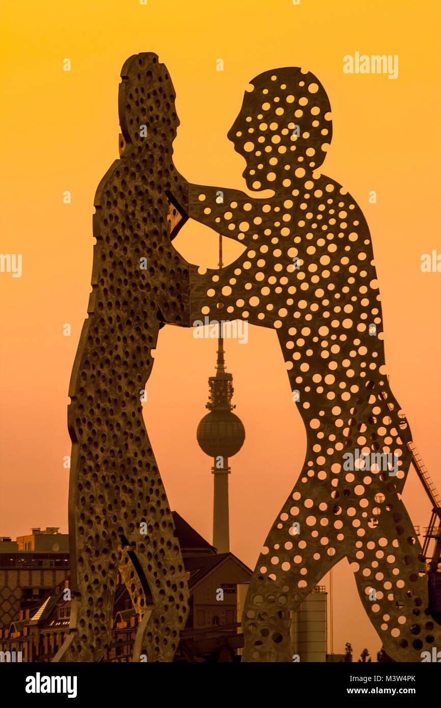 Molecular Man, Sculture by Jonantan Borifsky, Alex TV Tower , Spree, Berlin - Stock Image
