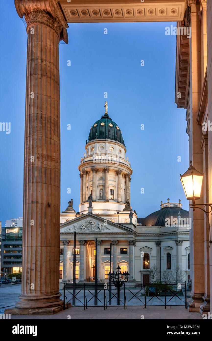 german cathedral, concert hall, columns, gendarme market, Gendarmenmarkt, Berlin, germany - Stock Image