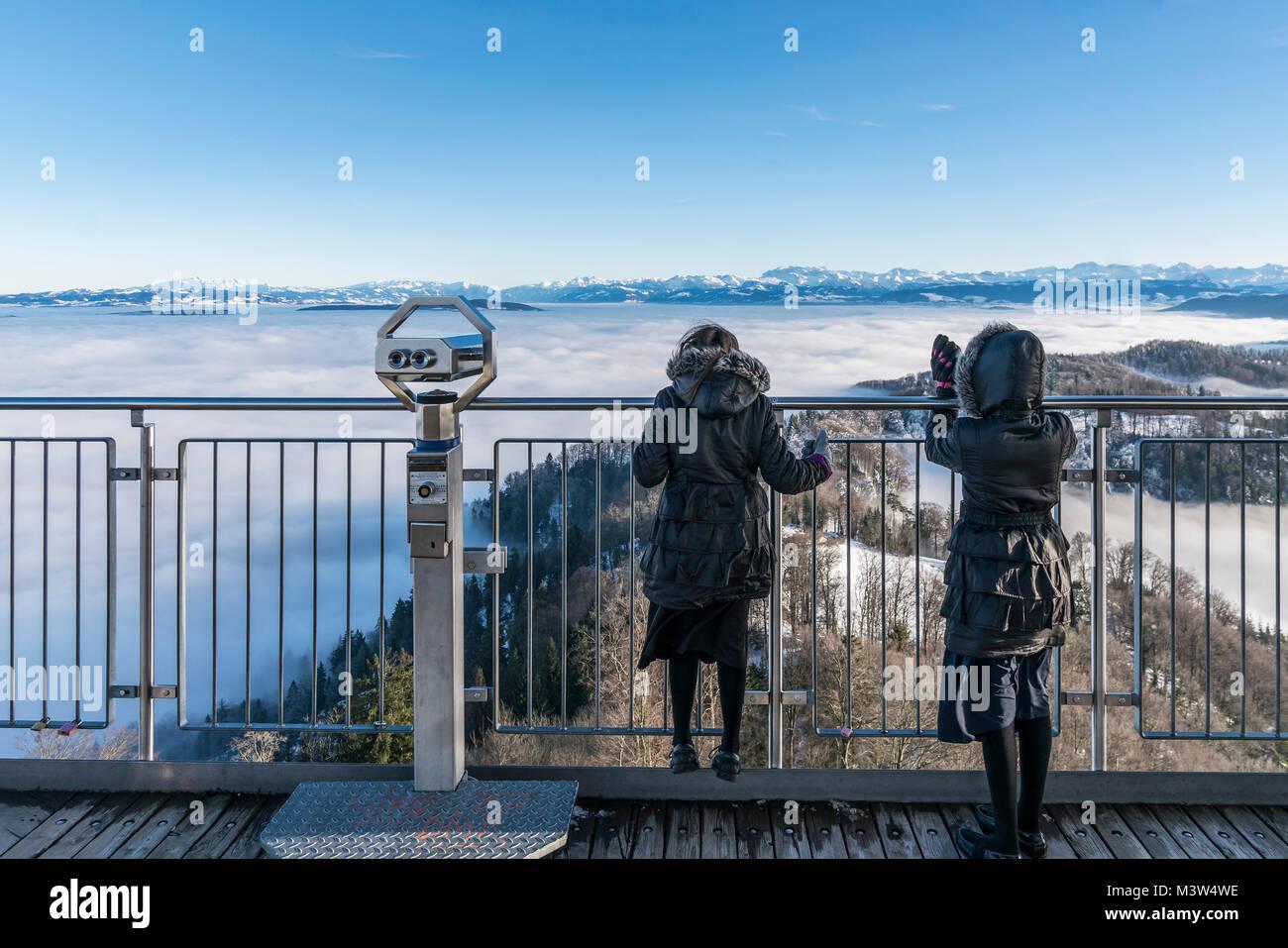 Panoramic view from Uetliberg, Uto Kulm, fog, swiss alps, Kanton Zurich - Stock Image