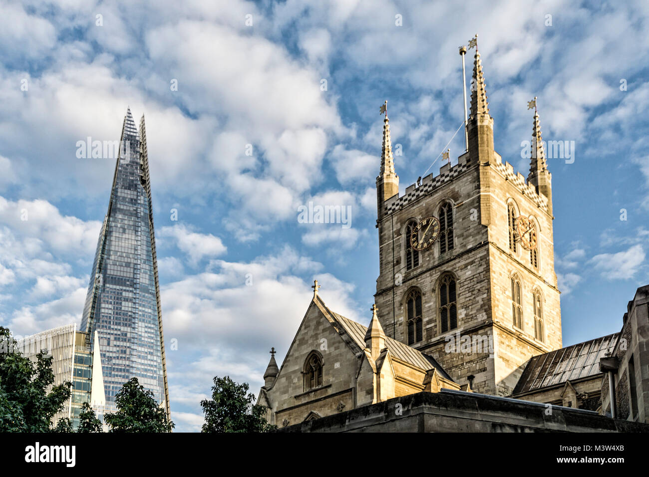 Southwark Cathedral and The Shard Skyscraper,  South Bank, London,  UK - Stock Image