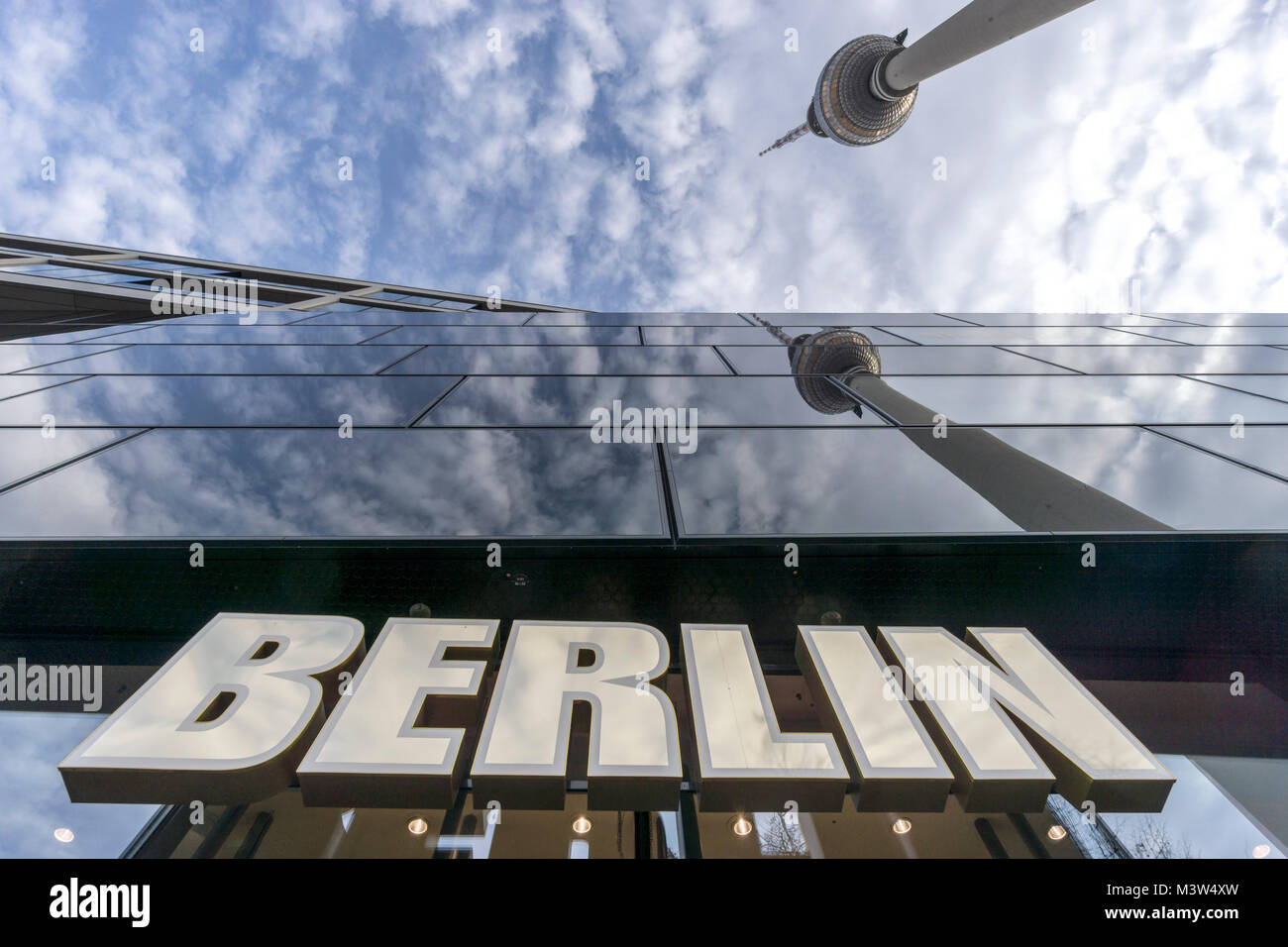 Alexander square, Berlin sign, Alex TV tower, Berlin, Germany - Stock Image