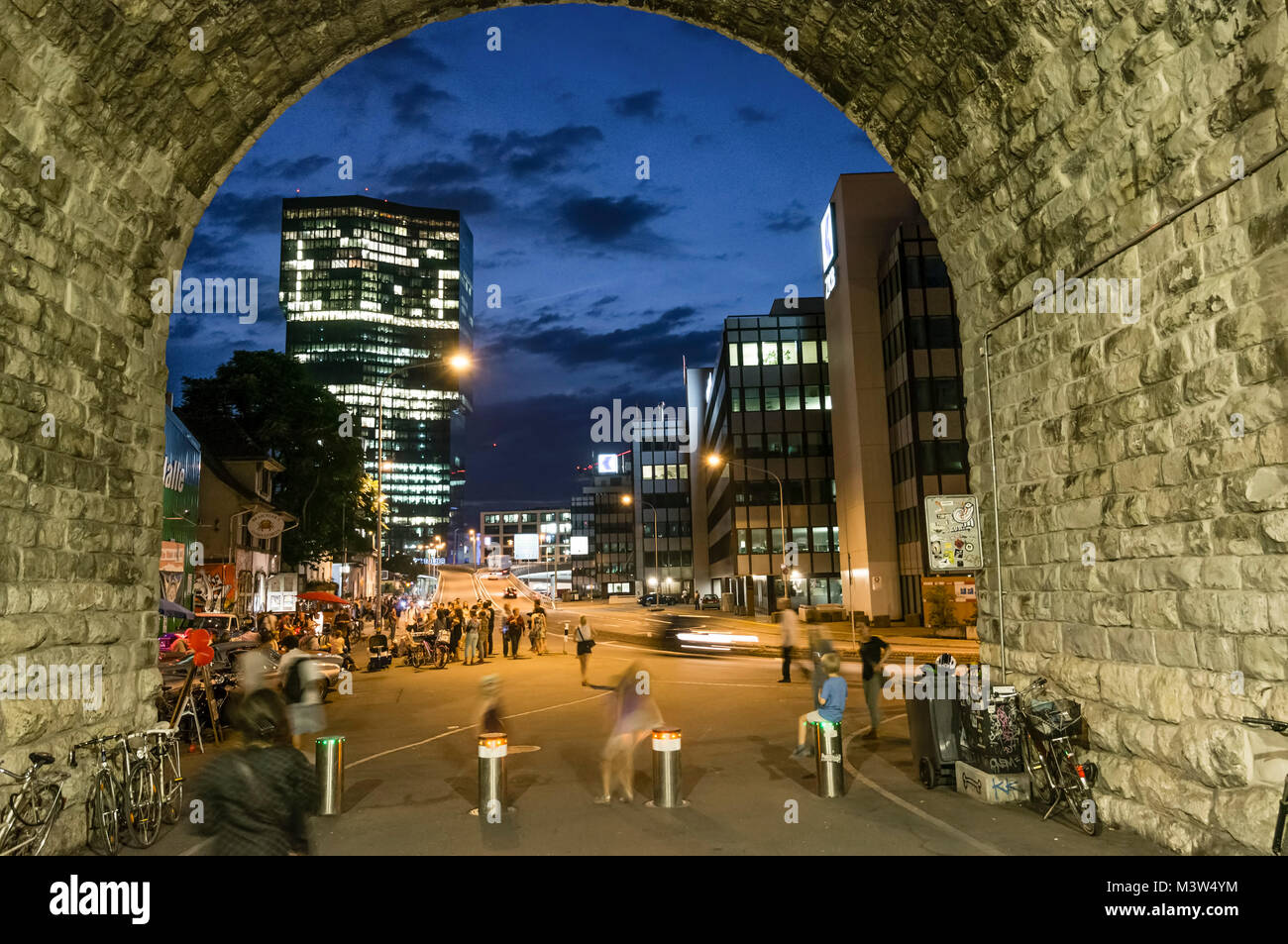 Switzerland, Zurich, View of Prime tower , Tunnel, Twiliight, - Stock Image