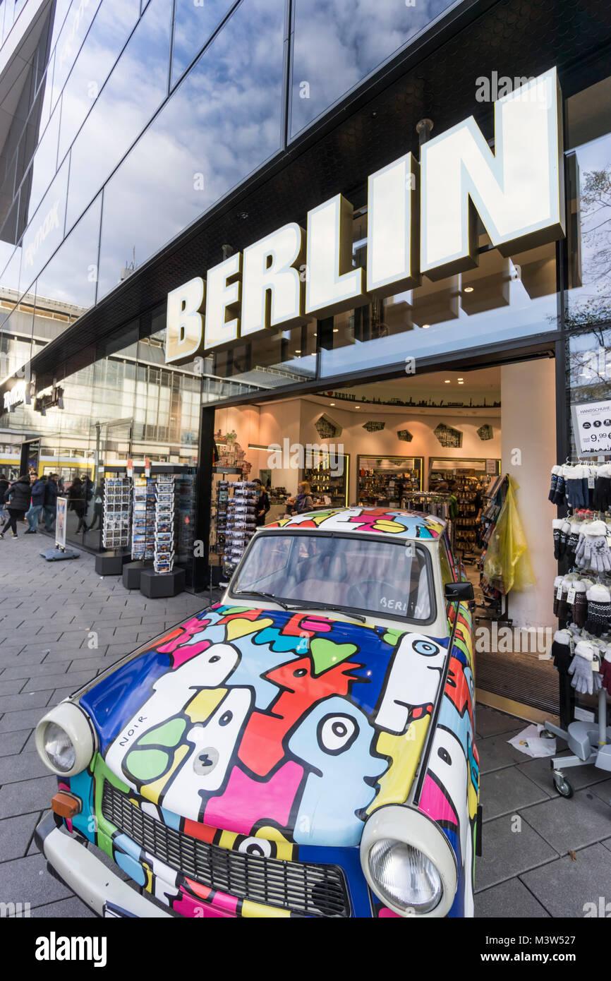 Alexander square, Berlin sign, Souvenir shop,   Berlin, Germany - Stock Image