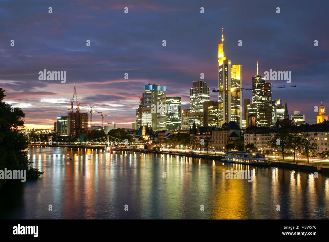 Eisener Steg bridge, Skyline of financial  district,  Frankfurt - Main, Germany - Stock Image