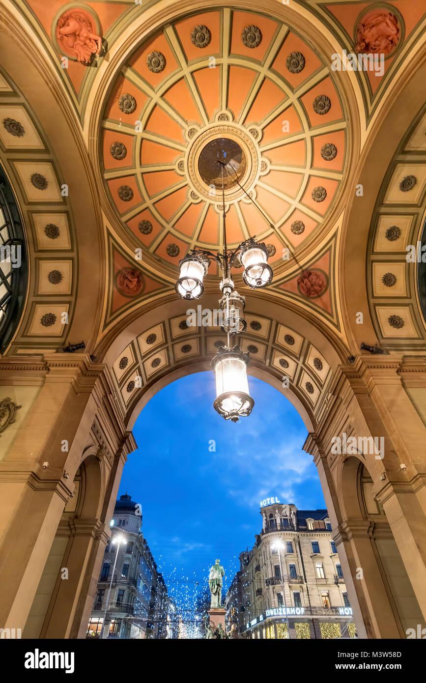 Art Deco Portal Zurich main station, Zurich, Switzerland - Stock Image