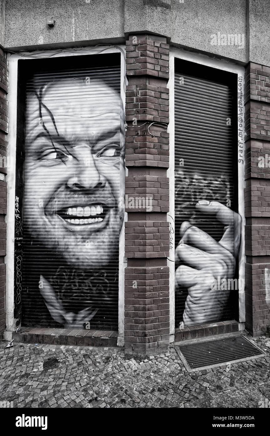 Jack Nicholson Graffiti in Kreuzberg 36, Berlin - Stock Image