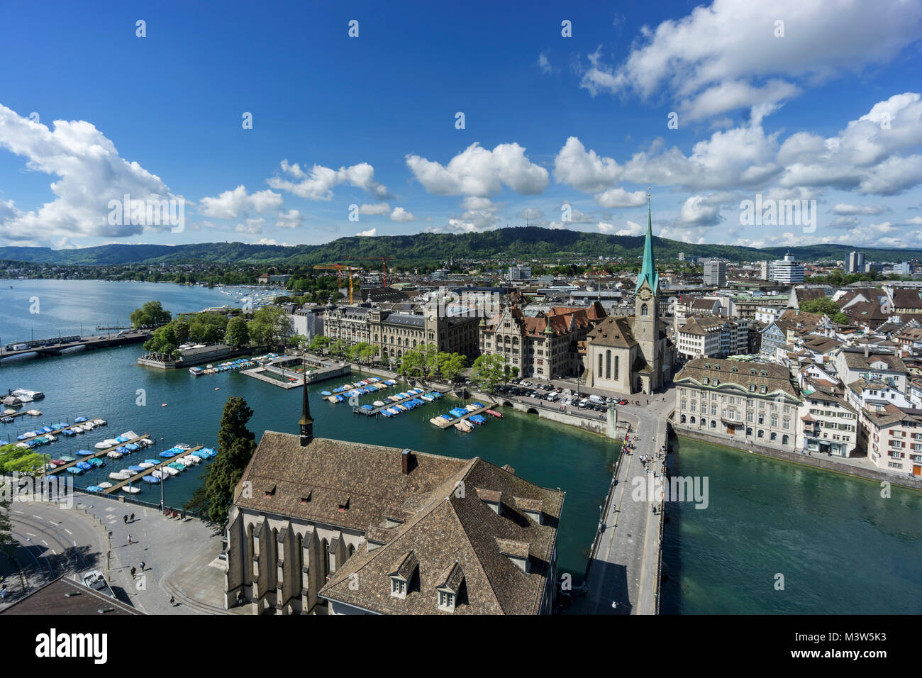 Panoramic view from Grossmunster cathedral, river Limmat, Zurich lake, Fraumunster, Zurich, Switzerland - Stock Image