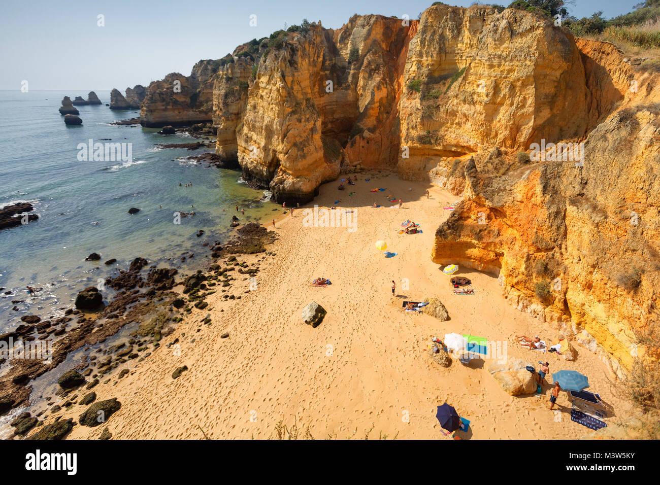 Portugal algarve near Lagos , Praia Dona Ana Atlantik coast - Stock Image