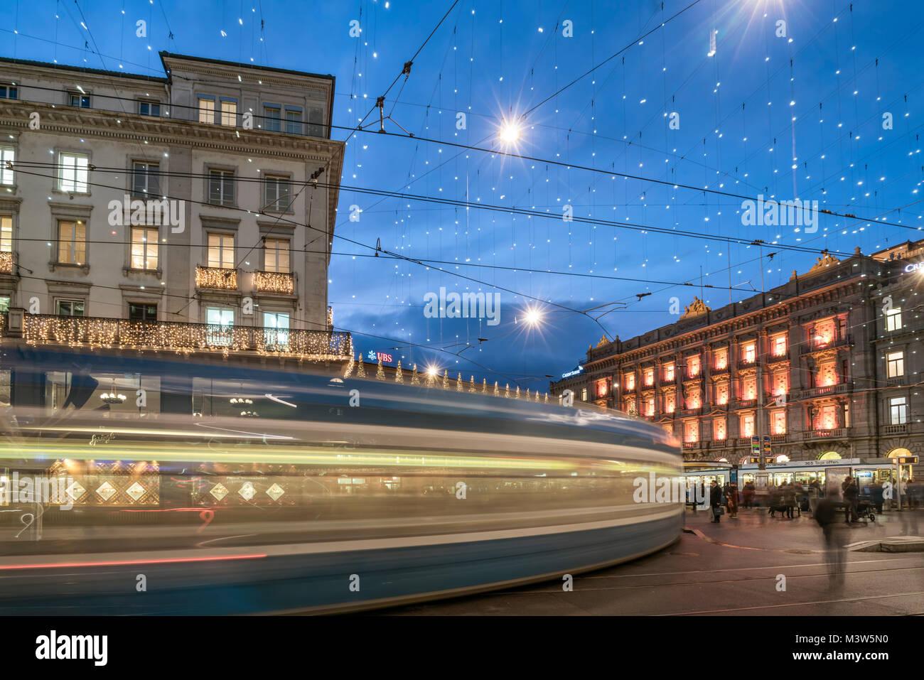 tram, christmas illumination,  Paradeplatz ,  Credit Suisse, UBS, Zurich, Switzerland - Stock Image