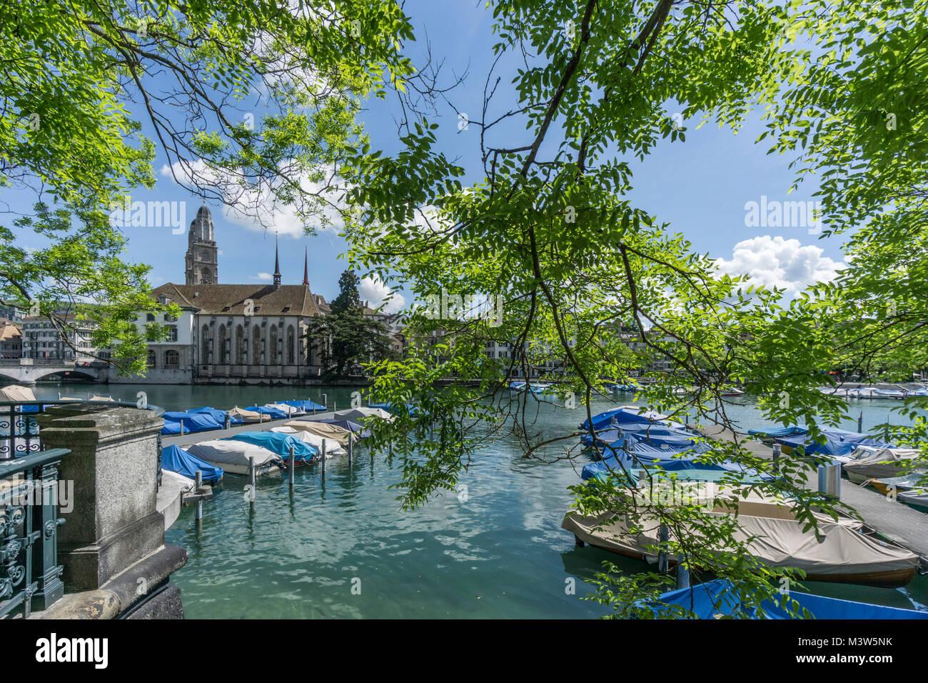 Boat pier, river Limmat, Grossmunster, water church, spring, Zurich, switzerland - Stock Image