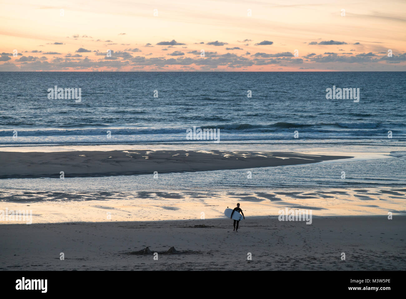 Lacanau Ocean, sunset, surfer, Nouvelle-Aquitaine, french westcoast, france, - Stock Image