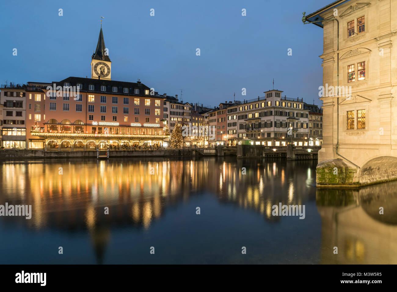 River Limmat, Hotel Storchen, St. Peters church, city hall, Zurich, Switzerland - Stock Image