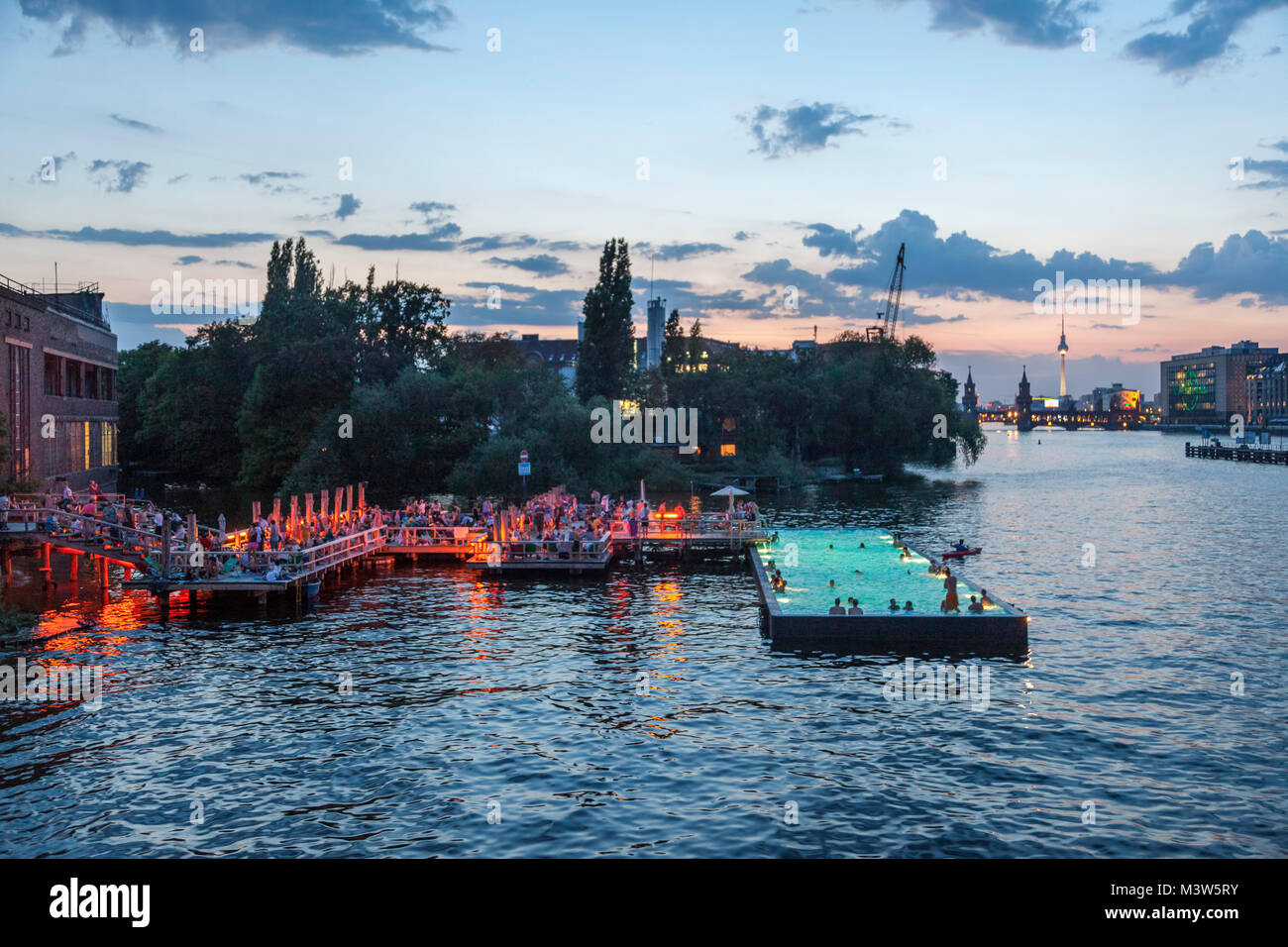 Bathing ship in River Spree at sunset, Badeschiff, Berlin, Germany - Stock Image