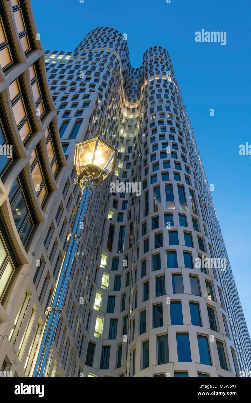 Upper West building, Atlas tower, Breitscheidplatz, new skycraper, laterne, Berlin, Germany - Stock Image