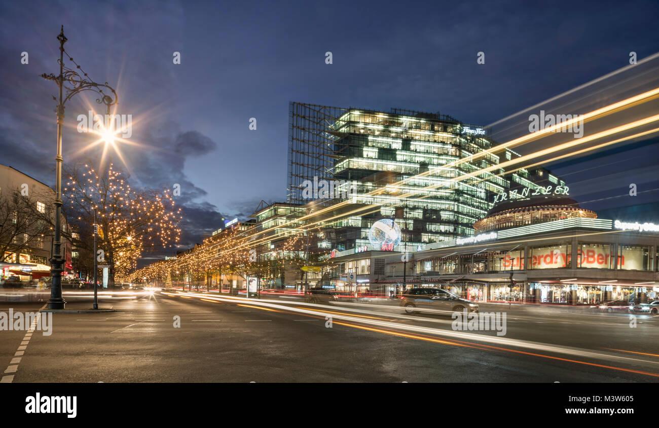 Christmas illumination, Kurfuerstendamm, Kuhdamm, Cafe Kranzler,  Berlin - Stock Image