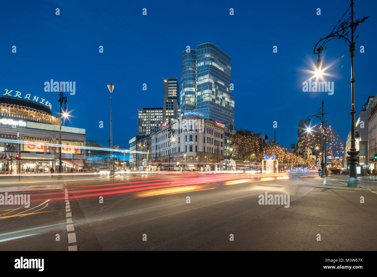 Christmas illumination, Kurfuerstendamm, Kuhdamm, Cafe Kranzler, Upper West Tower, Waldorf Astoria, Berlin - Stock Image