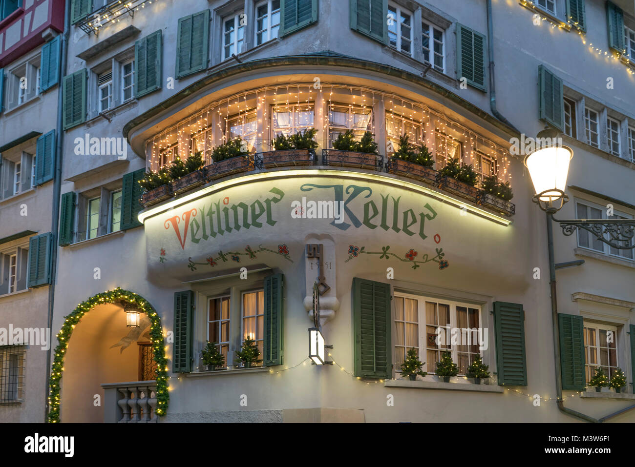 Veltliner Keller, old restaurant since 1551, old city center, Zurich, Switzerland - Stock Image