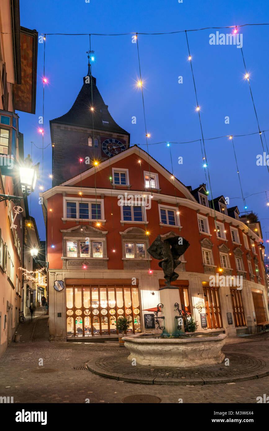 Christmas illumination, Neumarkt, new market, Restaurant Kantorei,  Niederdorf, Zurich, Switzerland - Stock Image