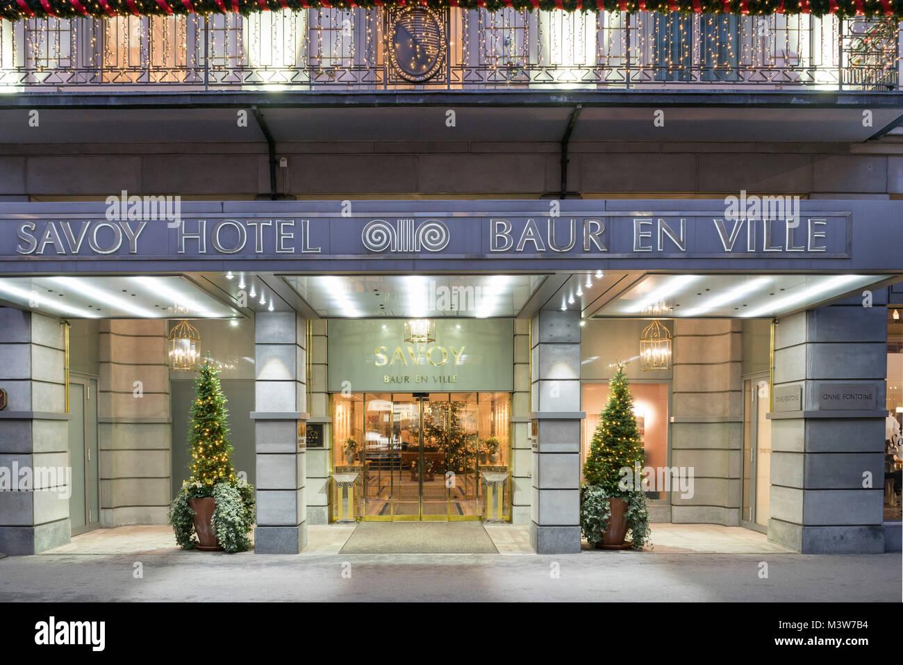 Savoy Hotel, BAUR en ville, Hotel Entrance, Zurich, Switzerland - Stock Image