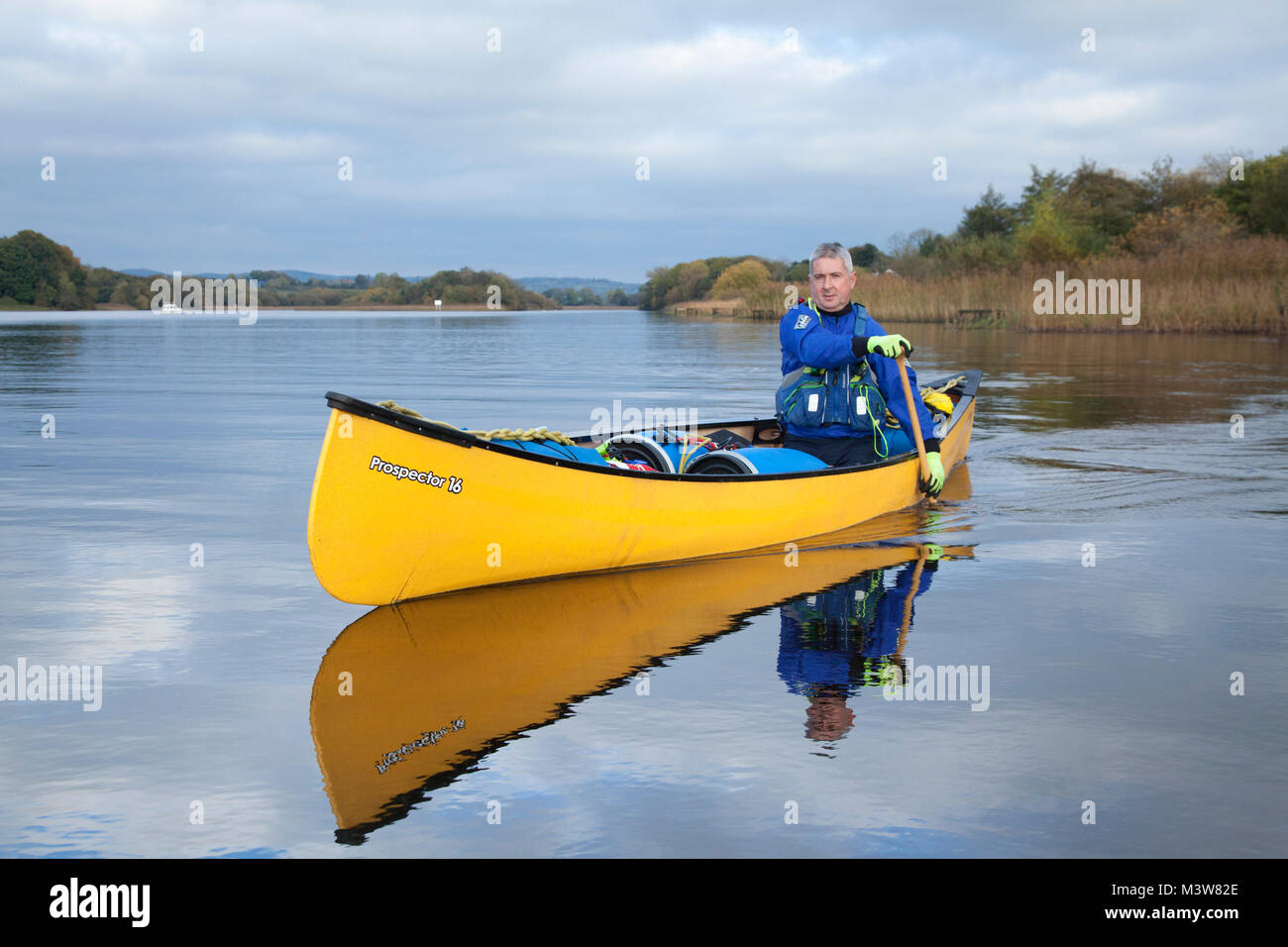 Canoeing near Bellanaleck, Upper Lough Erne, County Fermanagh, Northern Ireland. - Stock Image