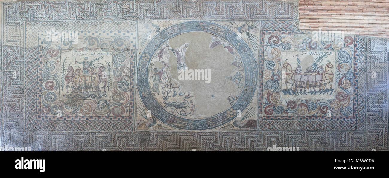 Merida, Spain - December 20th, 2017: Huge mosaic representing Quadriga Victorious Charioteers, Merida, Spain. National - Stock Image