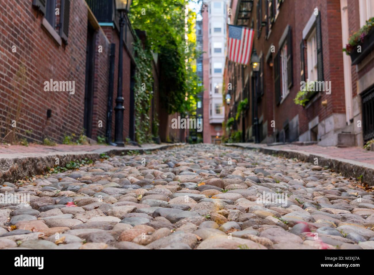 Looking Down Acorn Street in historic Boston - Stock Image