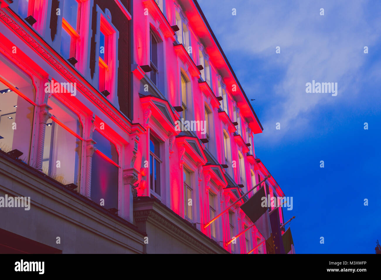 DUBLIN, IRELAND - February 10th, 2018: buildings in Grafton Street in Dublin city centre with colorful lighting - Stock Image