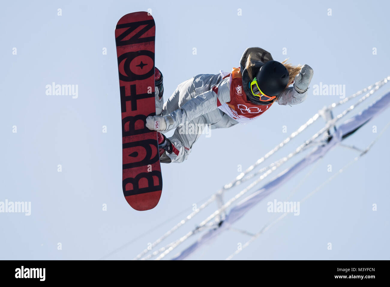 Pyeongchang, South Korea. 13th Feb, 2018. Chloe Kim of the U.S. competes during ladies' halfpipe finals of snowboard - Stock Image