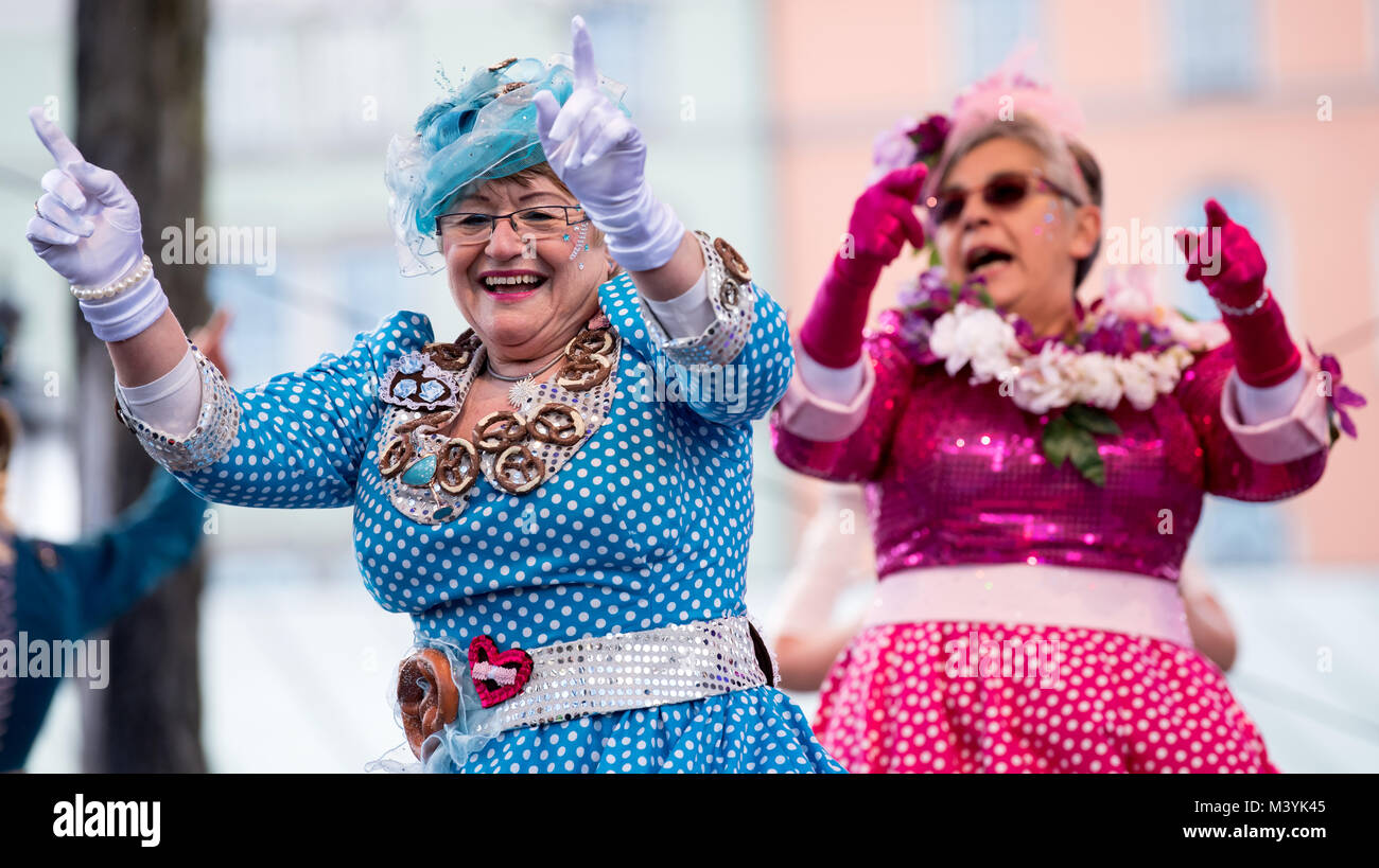 Munich, Germany. 13th Feb, 2081. The dance of the 'Marktweiber' (lit. 'market women') is a carnival - Stock Image