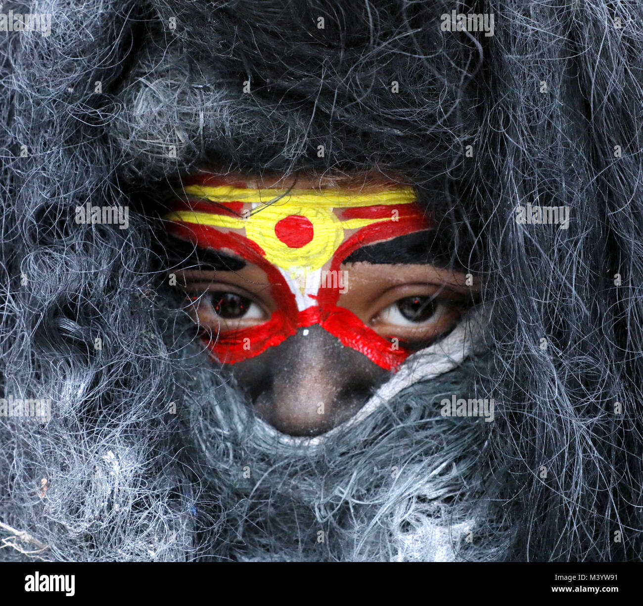 Jammu, India. 12th Feb, 2018. An Indian child dressed as Lord Shiva takes part in the Maha Shivratri procession - Stock Image
