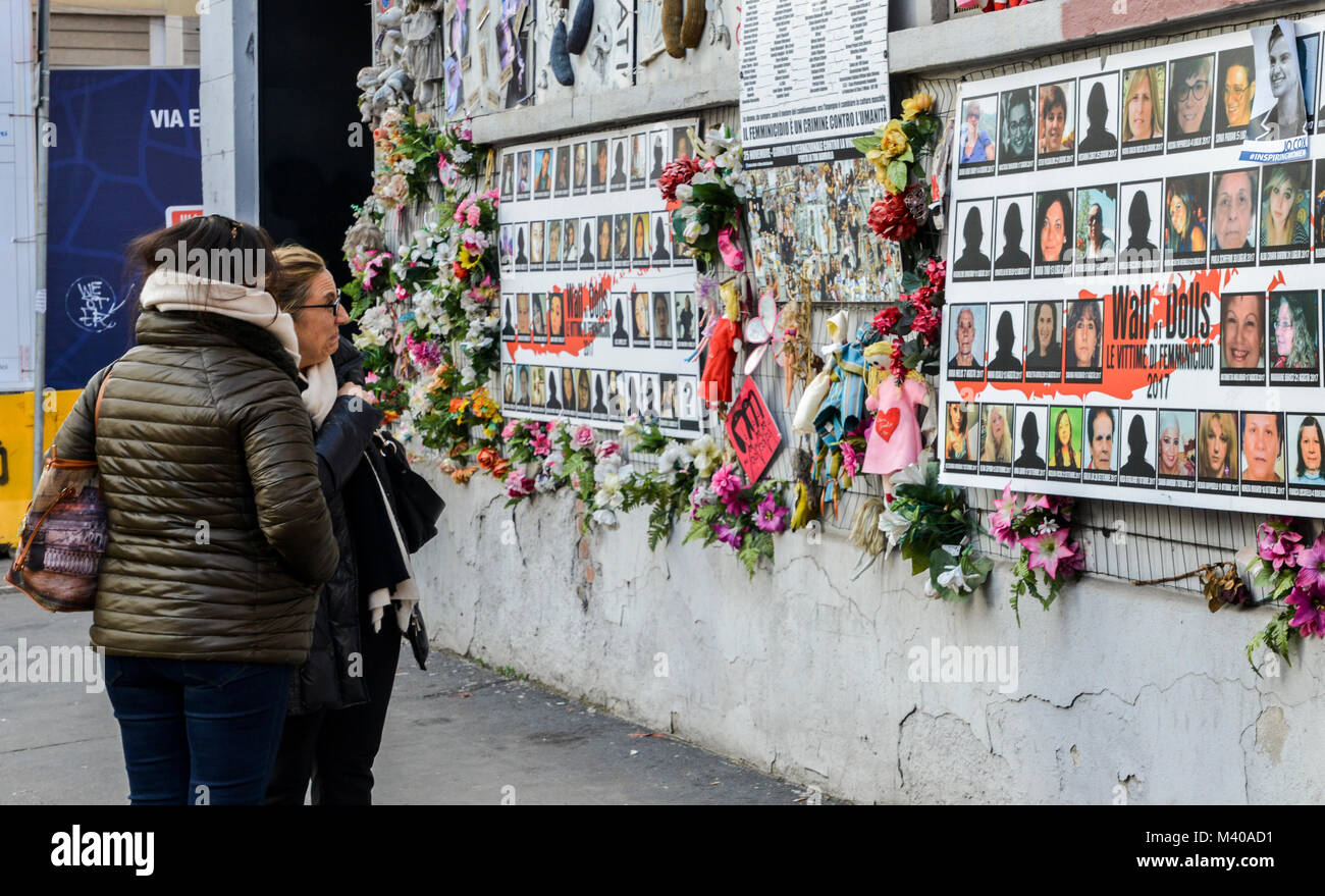 Milan, Italy - Feb 11, 2018: Wall of Dolls protest in Navigli district protesting against female physical and sexual Stock Photo