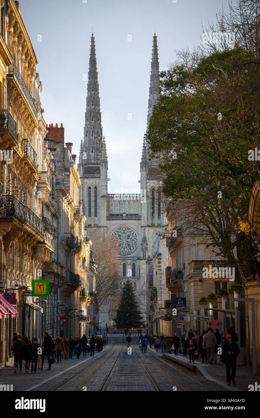 BORDEAUX, FRANCE - DECEMBER 27, 2017: Bordeaux Cathedral (Cathedrale Saint Andre) seen from Vital street, in the - Stock Image
