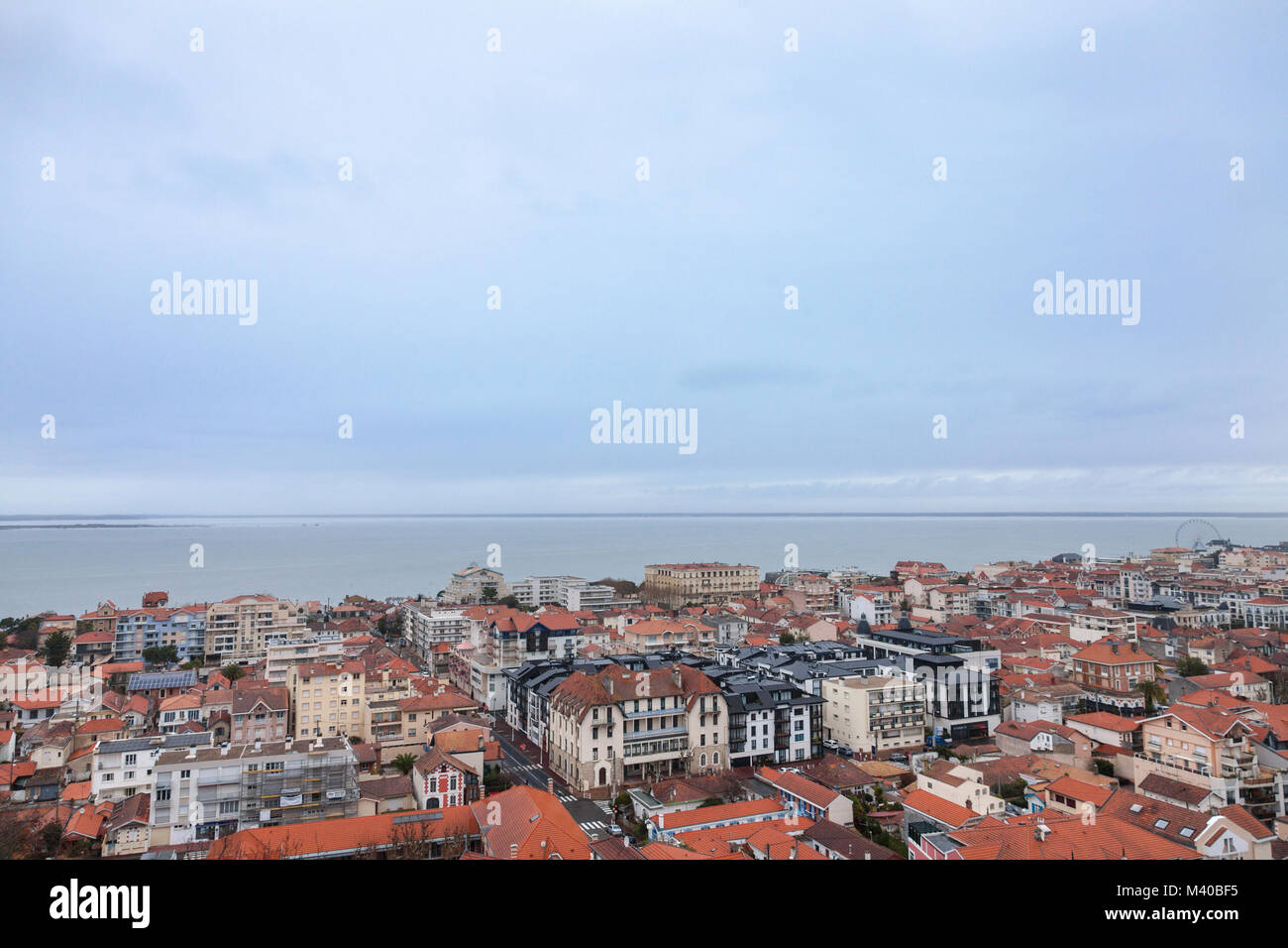 Aerial view of Arcachon, France, during a storm on a cloudy rainy day. Located in Arachon bay (bassin d'Arachon), - Stock Image