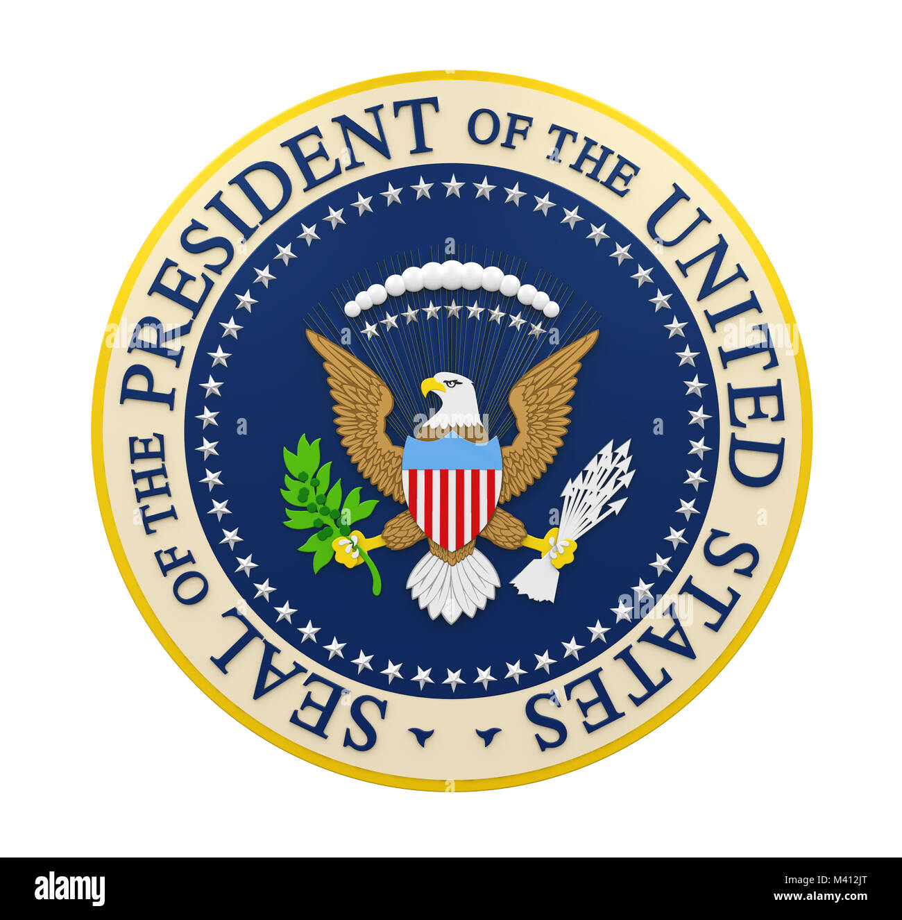 Seal of the President of the United States Isolated - Stock Image